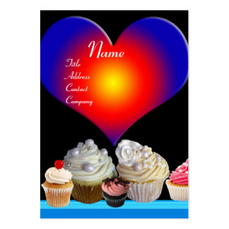 Corazón DELICIOSO del rojo azul de la TIENDA del Tarjetas De Visita Grandes