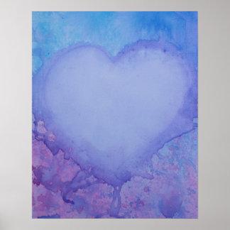 """Corazón descolorado 20"""" x 16"""", papel de poster del póster"""