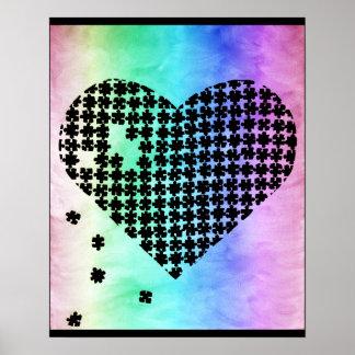 Corazón descolorado del rompecabezas de los colore póster