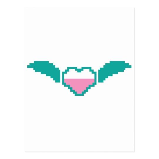 Corazón digital lindo con las alas postal