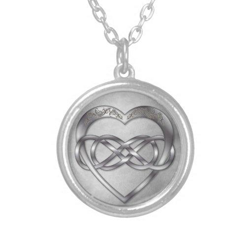 Corazón doble 1 de la plata del infinito - collar