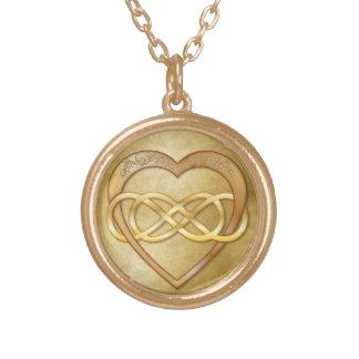 Corazón doble 1 del oro del infinito - collar