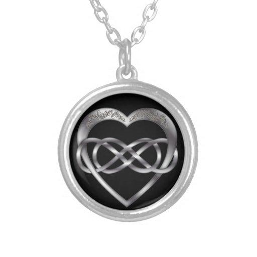 Corazón doble 2 de la plata del infinito - collar