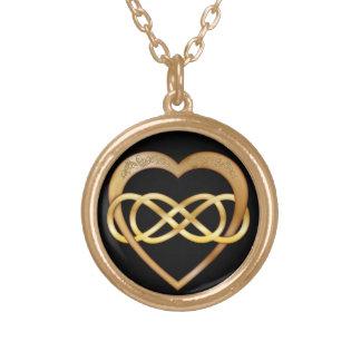 Corazón doble 2 del oro del infinito - collar