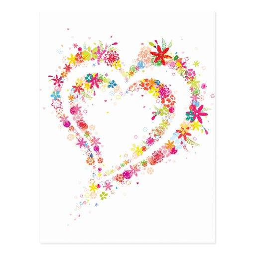 Corazón doble de la flor postales