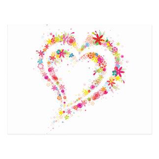 Corazón doble de la flor tarjetas postales