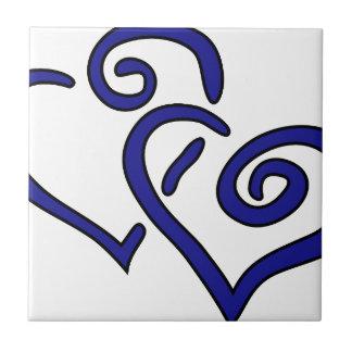 Corazón doble de la marina de guerra azulejo