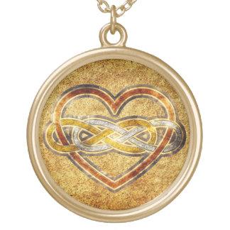 Corazón doble del infinito del símbolo bicolor colgante redondo