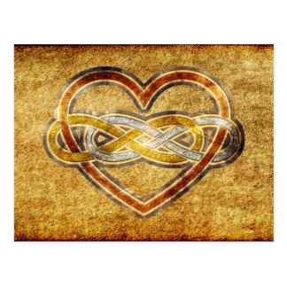 Corazón doble del infinito del símbolo bicolor tarjetas postales