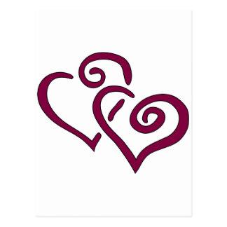 Corazón doble marrón postal