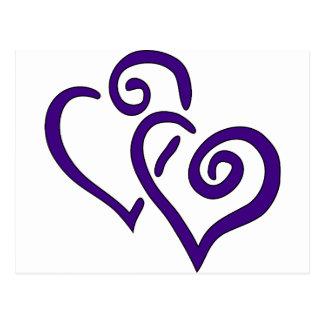 Corazón doble púrpura postal