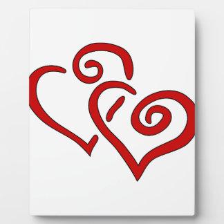 Corazón doble rojo placa expositora