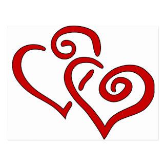 Corazón doble rojo postal