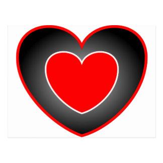 Corazón doble rojo y negro postal