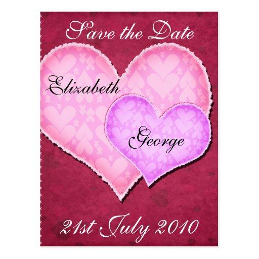 Corazón doble tarjetas postales