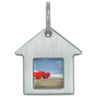 Corazón dos en la playa - 3D rinden Placa Para Mascotas