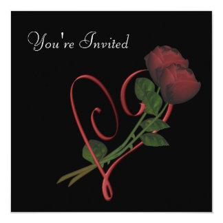 Corazón elegante de los rosas rojos en la invitación 13,3 cm x 13,3cm