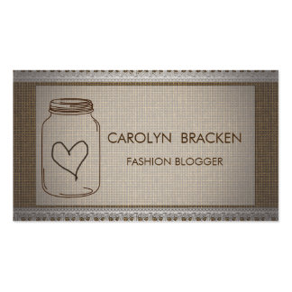 Corazón elegante del tarro de albañil del cordón tarjeta personal