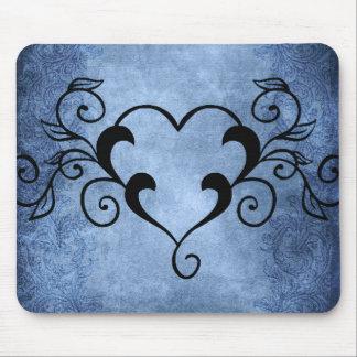 Corazón elegante negro alfombrilla de ratón