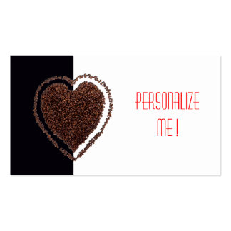 Corazón elegante negro y blanco fresco del café de tarjetas de visita