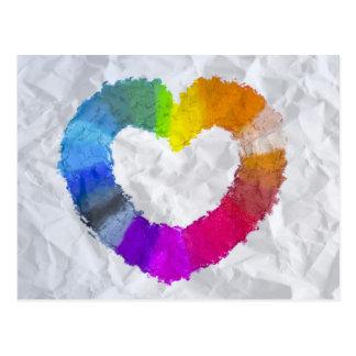 Corazón en colores pastel tarjetas postales
