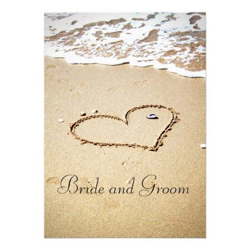 Corazón en la orilla invitaciones personalizada