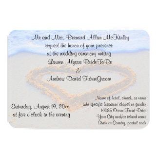 Corazón en la recepción nupcial de la playa de la invitación 8,9 x 12,7 cm