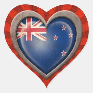 Corazón envejecido de la bandera de Nueva Zelanda Calcomanías Corazones
