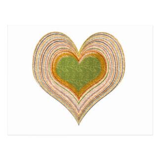 Corazón esmeralda romántico del oro postal