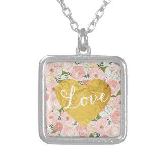 Corazón falso floral del amor del oro del vintage collar plateado