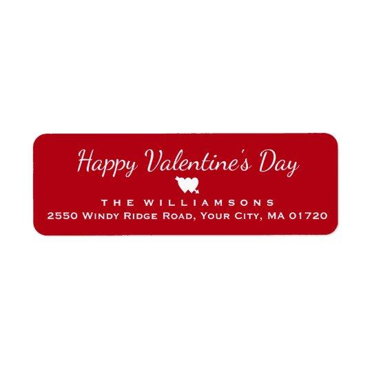Corazón feliz y flecha del el día de San Valentín Etiquetas De Remite