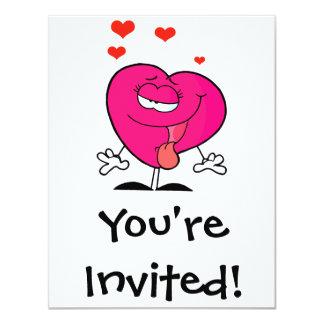 corazón femenino del dibujo animado enfermo lindo invitación 10,8 x 13,9 cm
