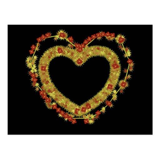 Corazón floral decorativo tarjeta postal