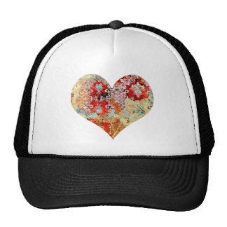 Corazón floral del damasco del vintage femenino gorras