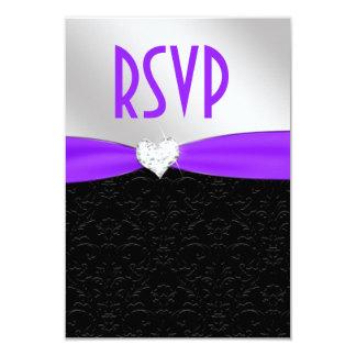 Corazón floral negro púrpura RSVP del diamante del Invitación 8,9 X 12,7 Cm
