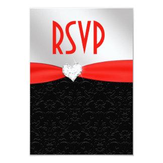 Corazón floral negro rojo RSVP del diamante del Invitación 8,9 X 12,7 Cm