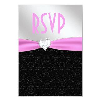 Corazón floral negro rosa claro RSVP del diamante Invitación 8,9 X 12,7 Cm