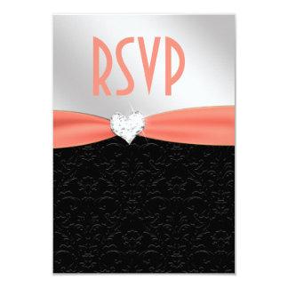 Corazón floral negro RSVP del diamante del damasco Invitación 8,9 X 12,7 Cm
