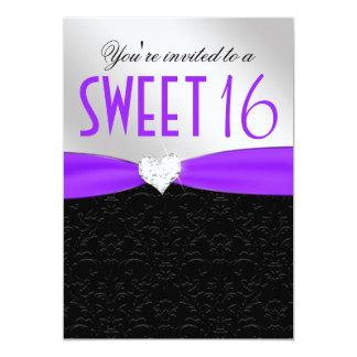 Corazón floral púrpura y negro del diamante del invitación 12,7 x 17,8 cm