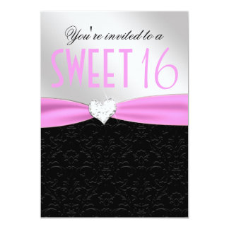 Corazón floral rosa claro y negro del diamante del invitación 12,7 x 17,8 cm