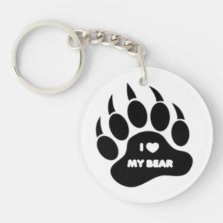 Corazón gay de la pata de oso del orgullo del oso  llavero redondo acrílico a doble cara