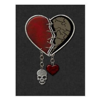 Corazón gótico con el cráneo - postal