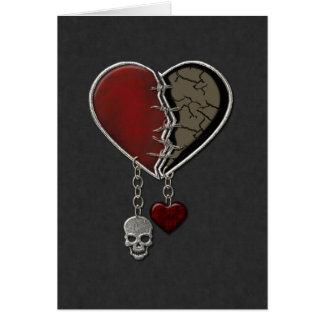 Corazón gótico con el cráneo - tarjeta de