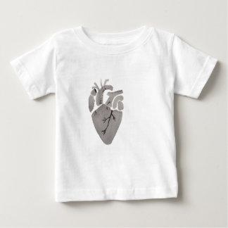 Corazón gris camiseta de bebé