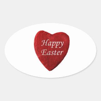Corazón happy Easter Pegatina Ovalada