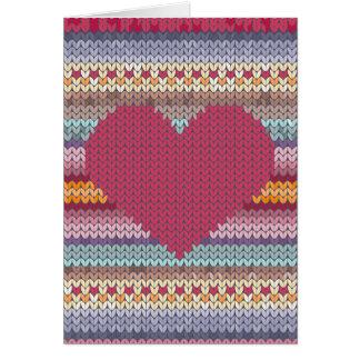 Corazón hecho punto rojo del día de San Valentín Tarjeta