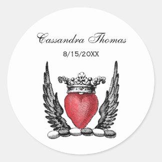 Corazón heráldico con el escudo del escudo de pegatina redonda