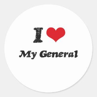Corazón I mi general Pegatina Redonda