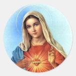 Corazón inmaculado Maria Pegatinas Redondas