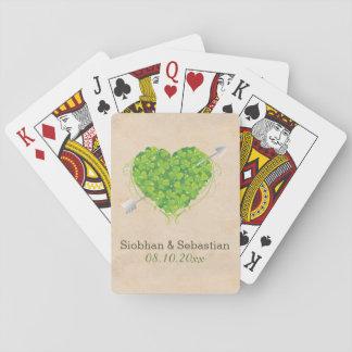 Corazón irlandés del trébol del boda baraja de cartas
